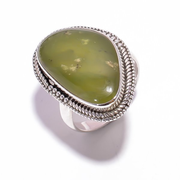 Transvaal Jade Gemstone 925 Sterling Silver Ring Size US 8.5