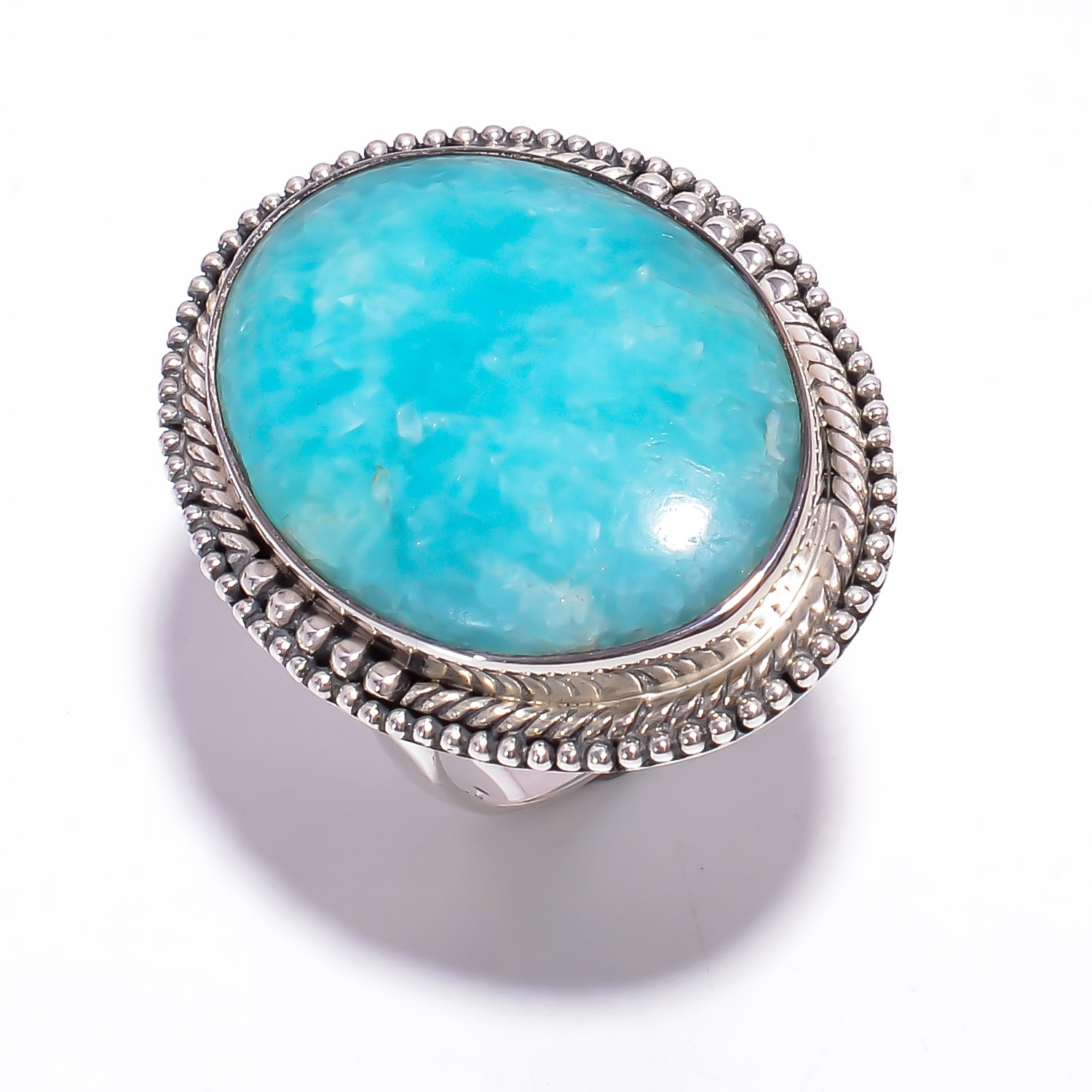 Amazonite Gemstone 925 Sterling Silver Ring Size US 8.5
