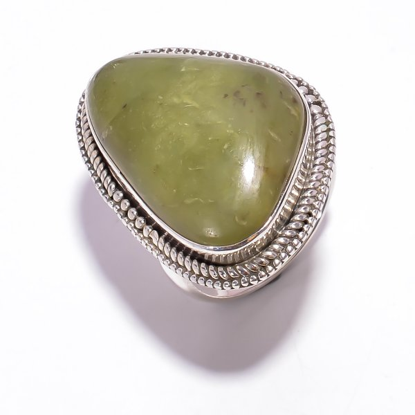 Transvaal Jade Gemstone 925 Sterling Silver Ring Size US 6.75