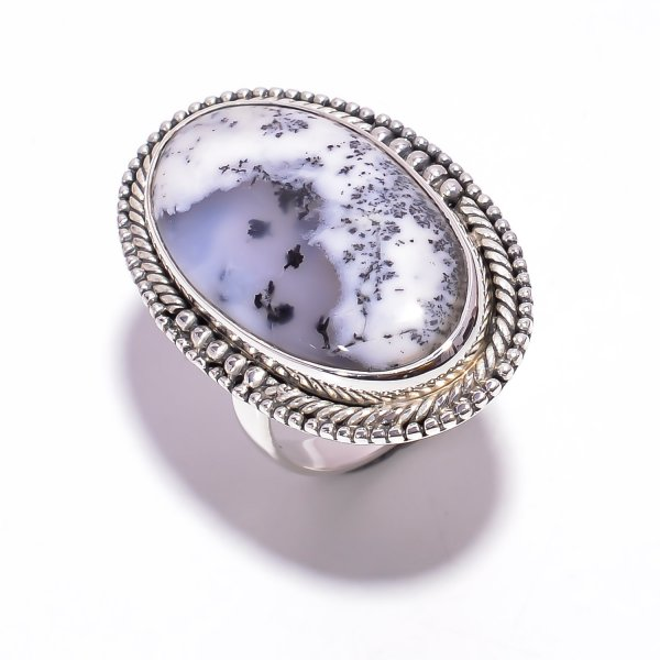Dendrite Opal Jade Gemstone 925 Sterling Silver Ring Size US 7.25