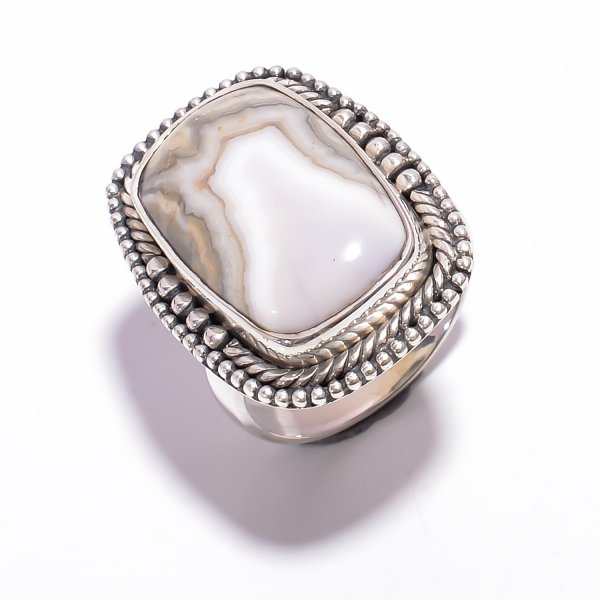 Crazy Lace Agate Gemstone 925 Sterling Silver Ring Size US 7