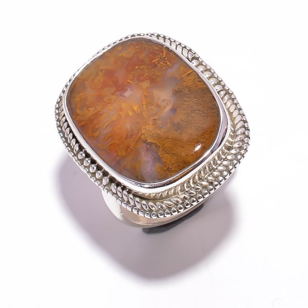 Indonesian Plume Agate Gemstone 925 Sterling Silver Ring Size US 6.75