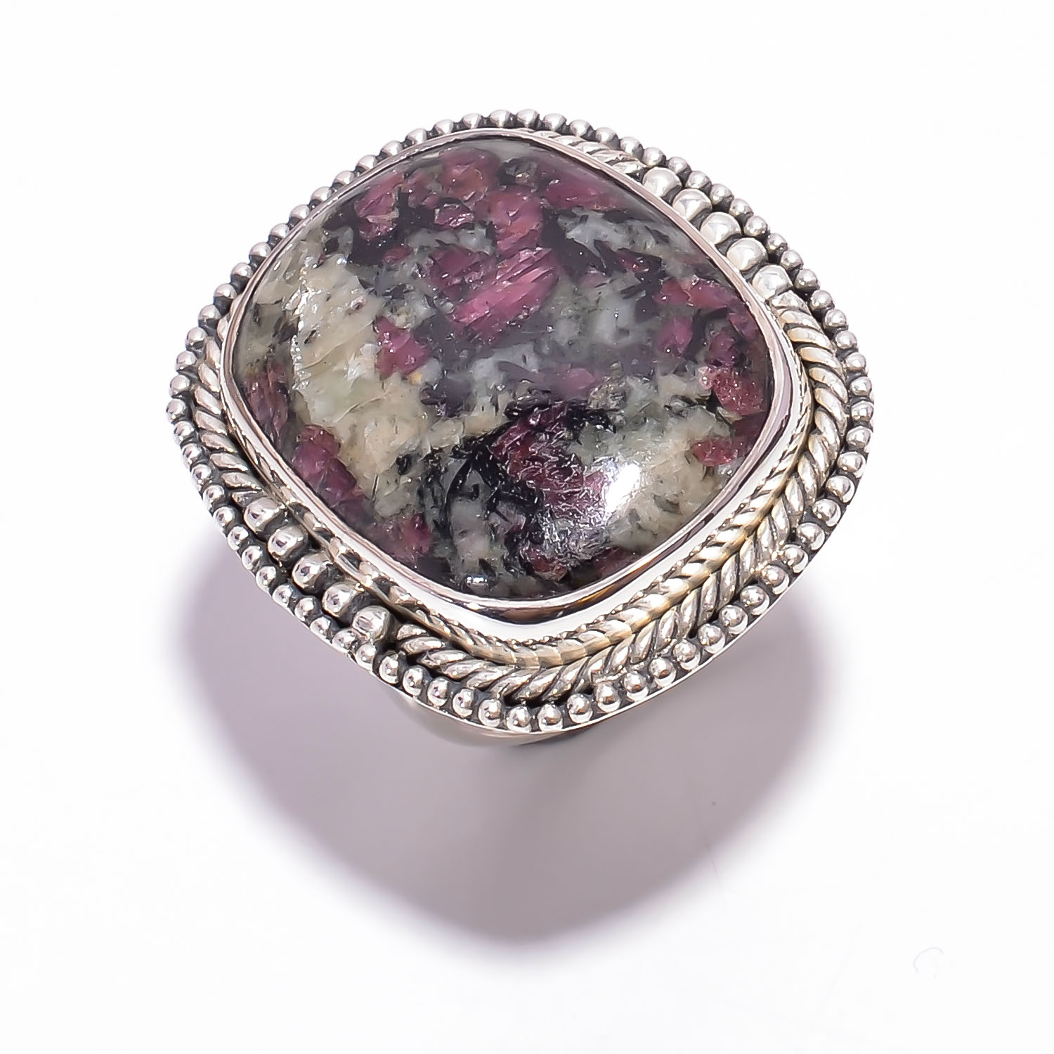 Eudialyte Gemstone 925 Sterling Silver Ring Size US 6.75