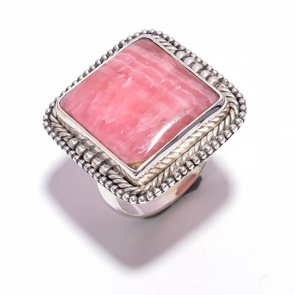 Rhodochrosite Gemstone 925 Sterling Silver Ring Size US 7.25
