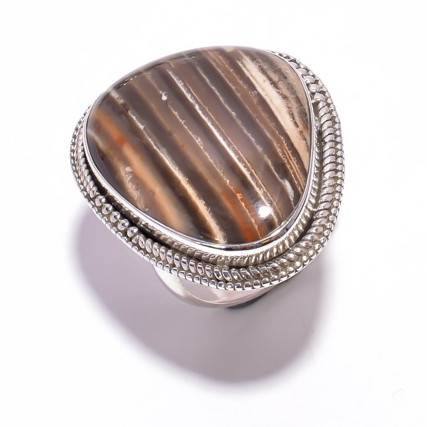 Jasper Gemstone 925 Sterling Silver Ring Size US 8.5