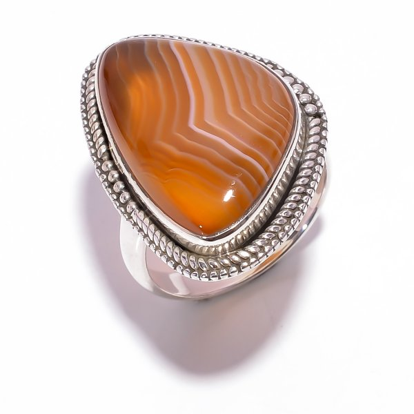 Orange Botswana Agate Gemstone 925 Sterling Silver Ring Size US 7