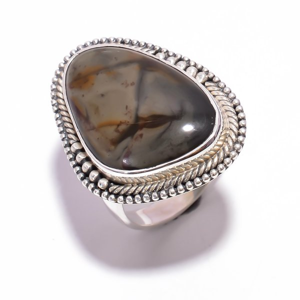 Cherry Creek Jasper Gemstone 925 Sterling Silver Ring Size US 8