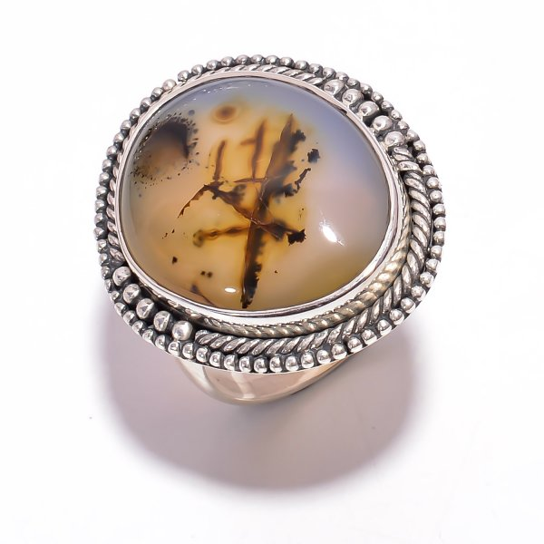 Montana Moss Agate Gemstone 925 Sterling Silver Ring Size US 8.5