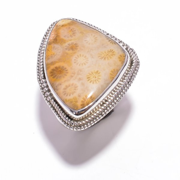Fossil Coral Gemstone 925 Sterling Silver Ring Size US 9