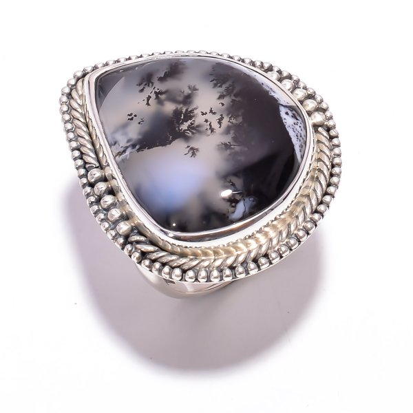 Dendrite Opal Gemstone 925 Sterling Silver Ring Size US 6
