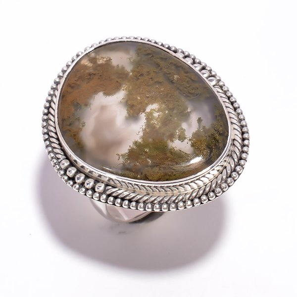 Moss Agate Gemstone 925 Sterling Silver Ring Size US 9