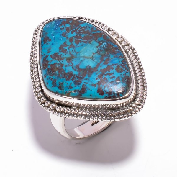 Chrysocolla Gemstone 925 Sterling Silver Ring Size US 8.5