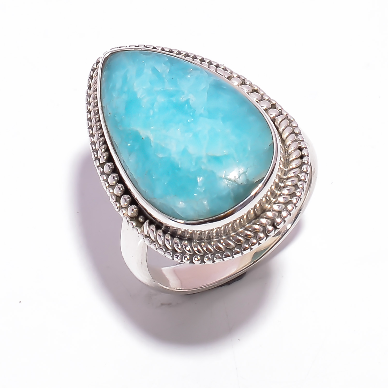 Amazonite Gemstone 925 Sterling Silver Ring Size US 6