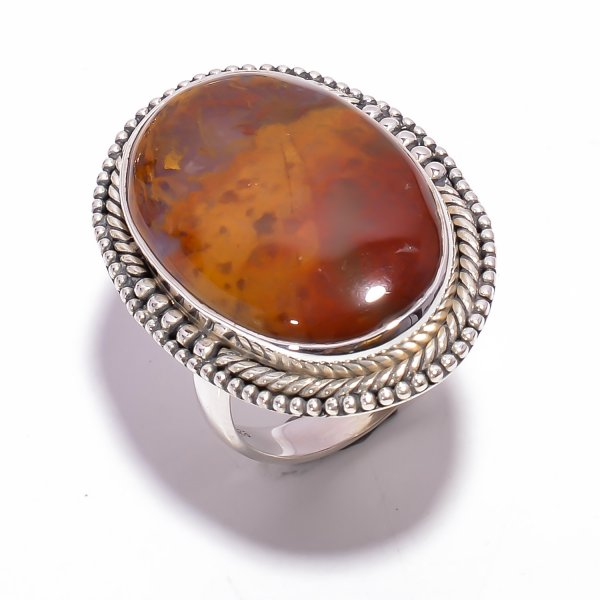 Indonesian Plume Agate Gemstone 925 Sterling Silver Ring Size US 8.75