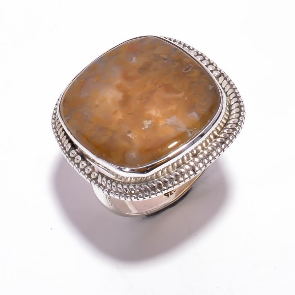 Indonesian Plume Agate Gemstone 925 Sterling Silver Ring Size US 8