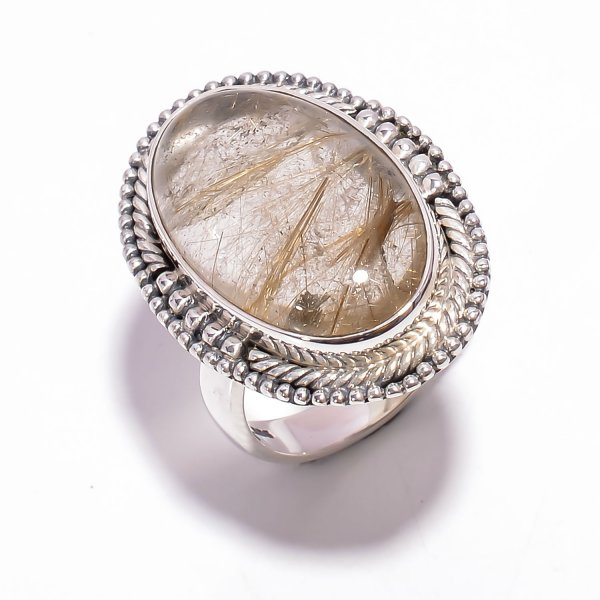Golden Rutile Gemstone 925 Sterling Silver Ring Size US 7.25