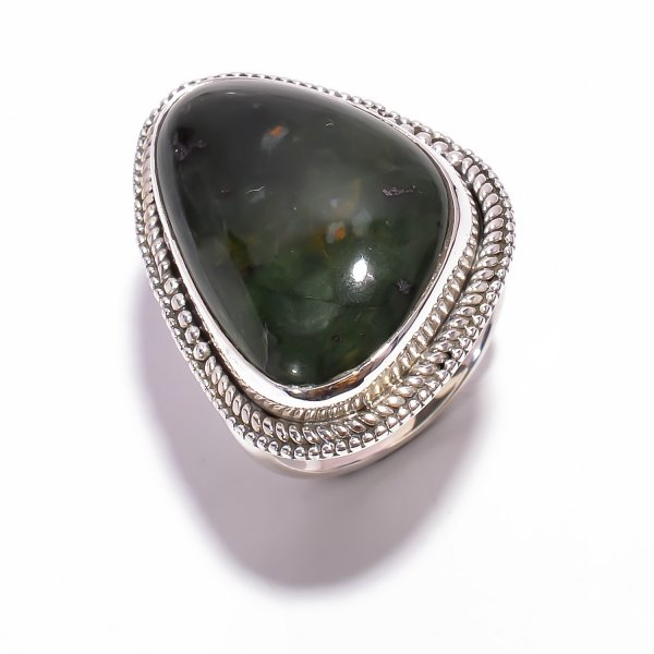 Bloodstone Gemstone 925 Sterling Silver Ring Size US 8