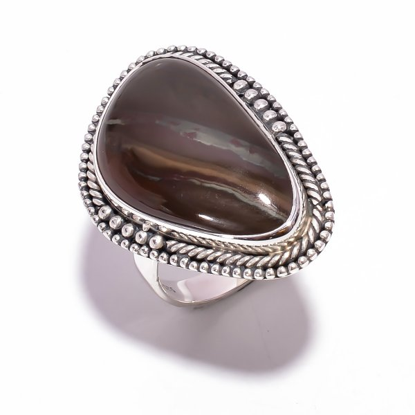 Jasper Gemstone 925 Sterling Silver Ring Size US 8