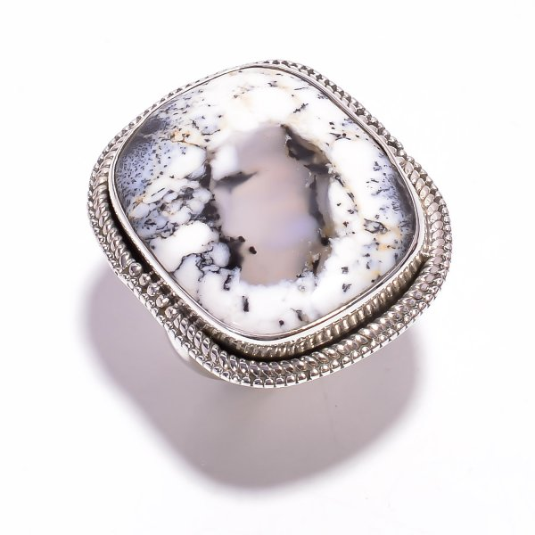 Dendrite Opal Gemstone 925 Sterling Silver Ring Size US 7.25