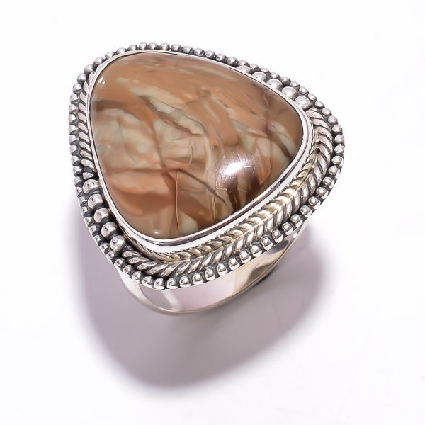Willow Creek Jasper Gemstone 925 Sterling Silver Ring Size US 8.5