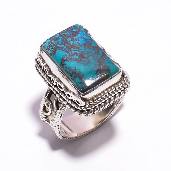 Chrysocolla Gemstone 925 Sterling Silver Ring Size US 6