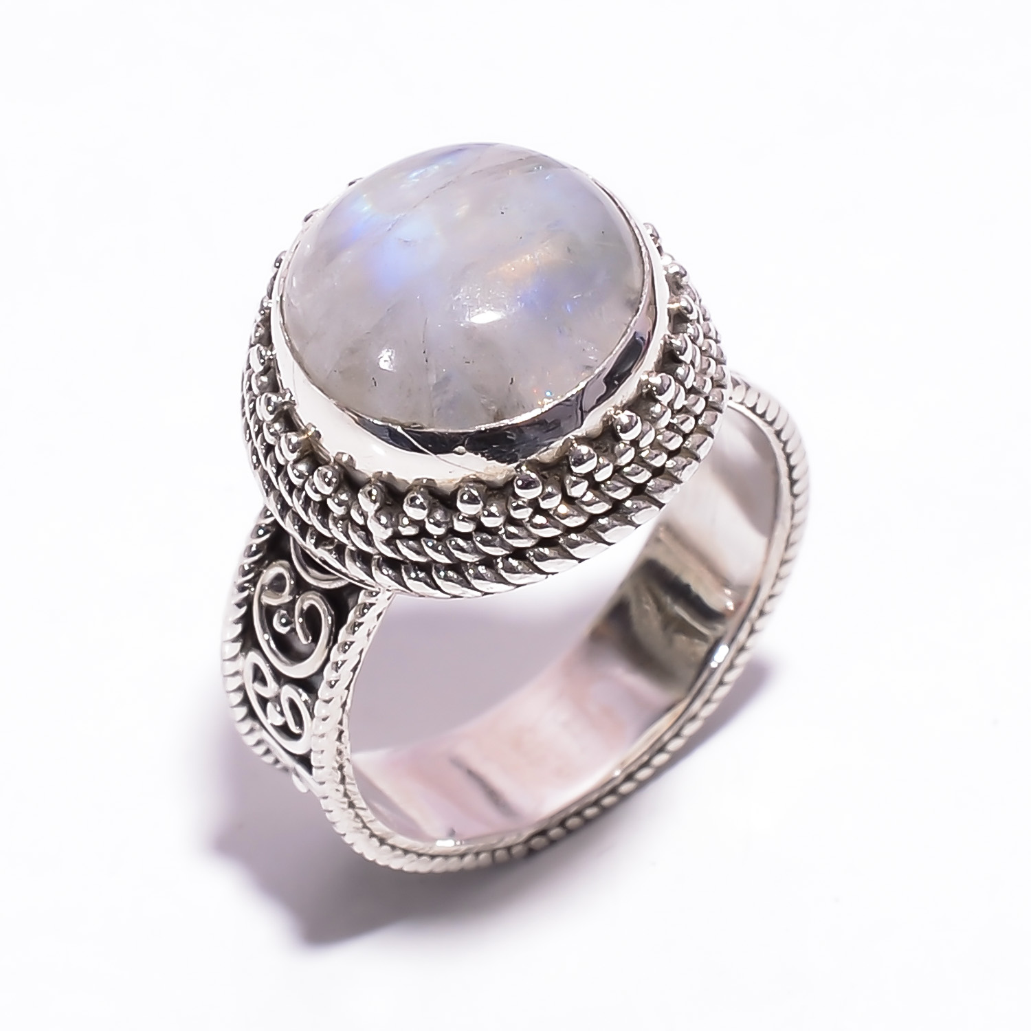 Rainbow Moonstone Gemstone 925 Sterling Silver Ring Size US 6