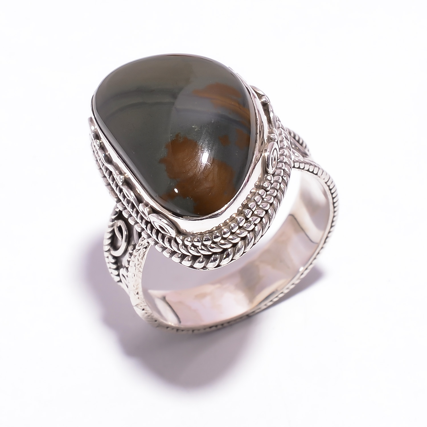 Larsonite Gemstone 925 Sterling Silver Ring Size US 9