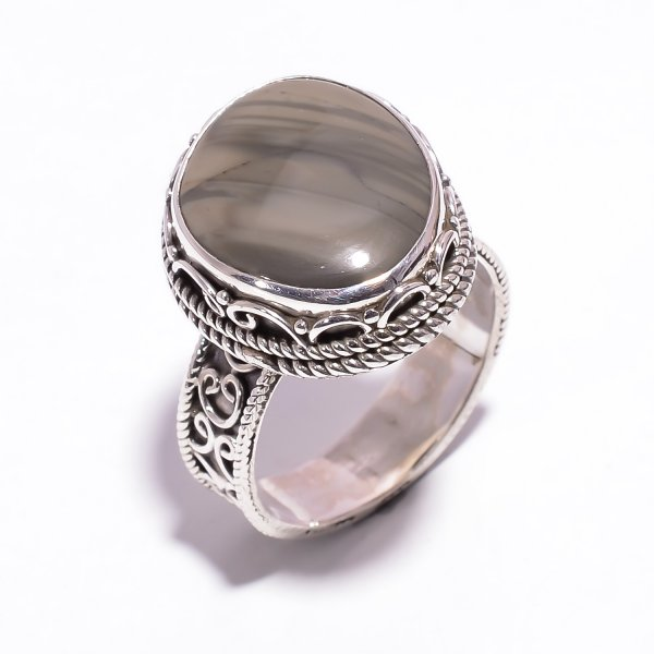 Jasper Gemstone 925 Sterling Silver Ring Size US 9