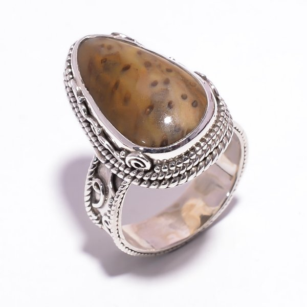 Palm Wood Jasper Gemstone 925 Sterling Silver Ring Size US 7