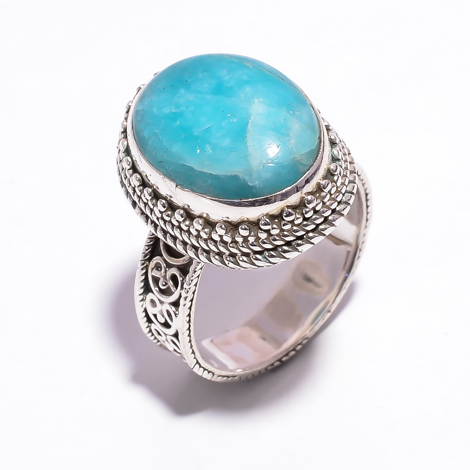 Amazonite Gemstone 925 Sterling Silver Ring Size US 7