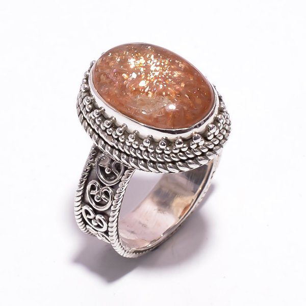 Natural Sunstone 925 Sterling Silver Ring Size US 6.25