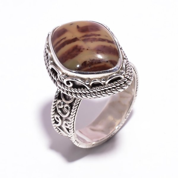 Cherry Creek Jasper Gemstone 925 Sterling Silver Ring Size US 7.25