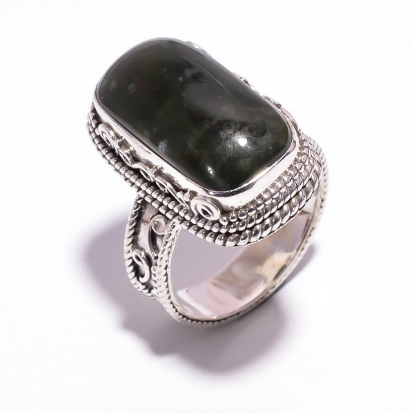Natural Bloodstone 925 Sterling Silver Ring Size US 8