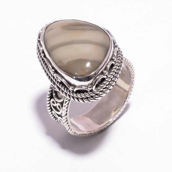 Jasper Gemstone 925 Sterling Silver Ring Size US 6