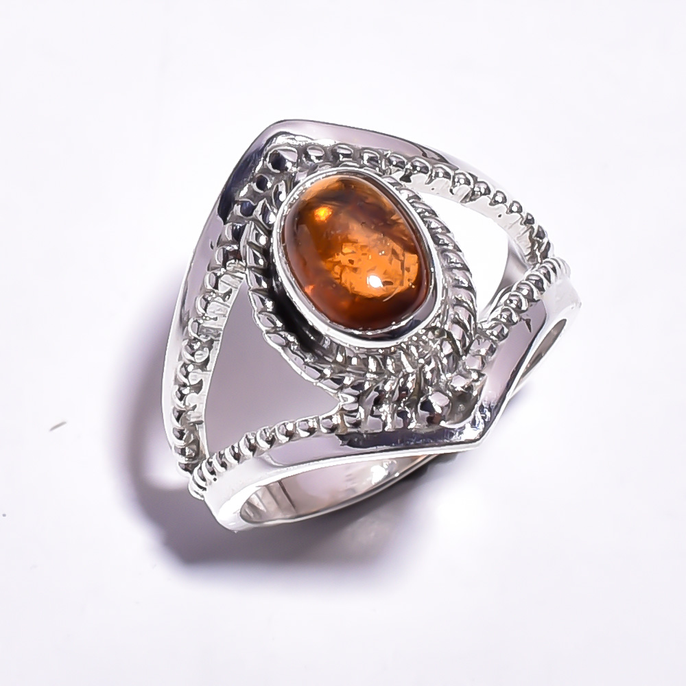 Amber Gemstone 925 Sterling Silver Ring Size US 8.25