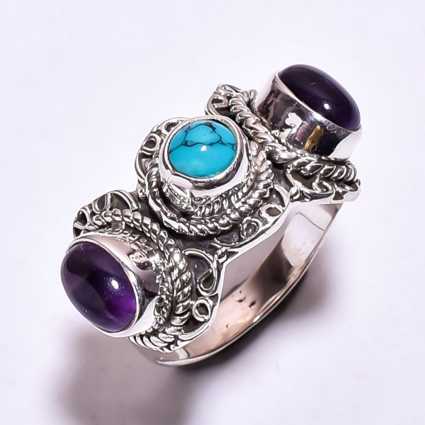 Turquoise Amethyst Gemstone 925 Sterling Silver Ring