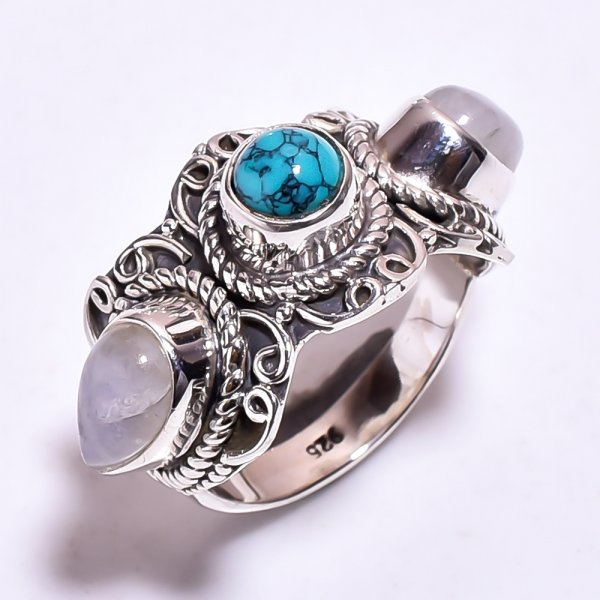 Natural Turquoise Rainbow Moonstone 925 Sterling Silver Ring