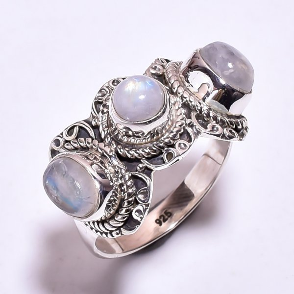 Natural Rainbow Moonstone 925 Sterling Silver Ring Size US 7.75