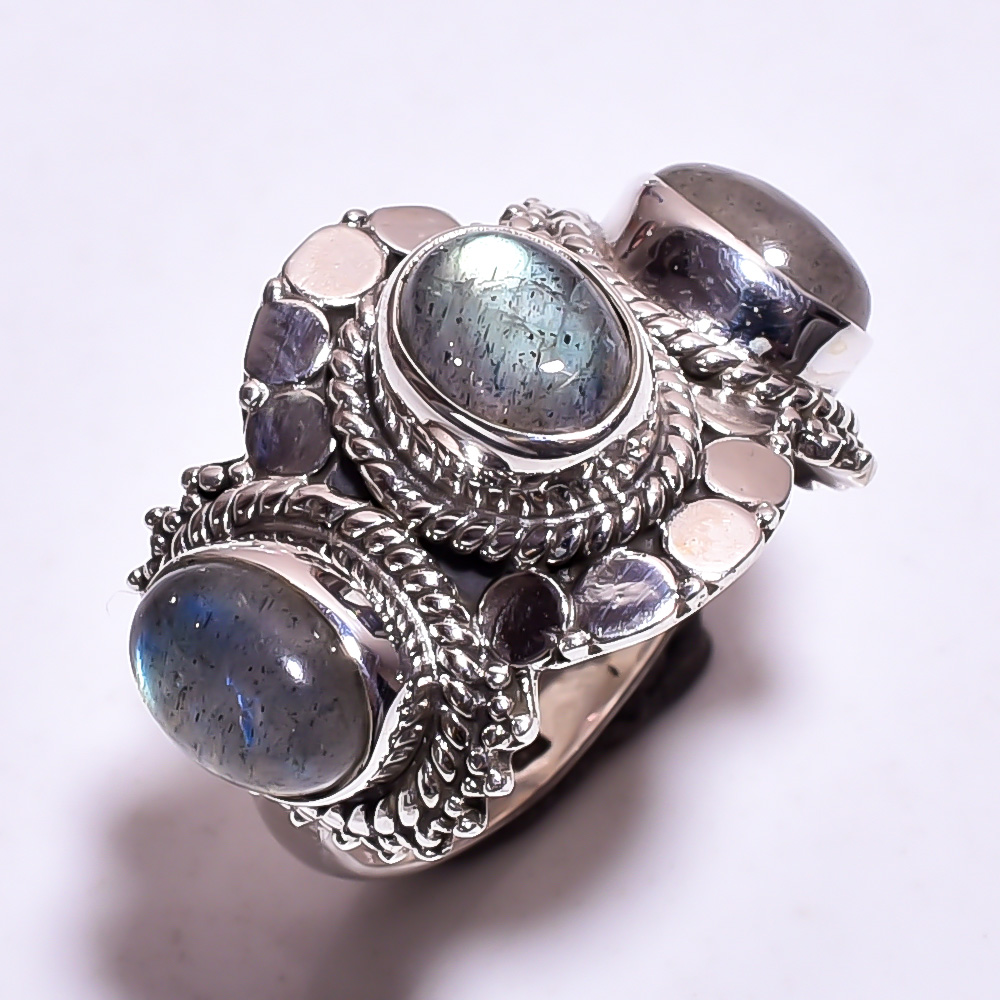 Labradorite Gemstone 925 Sterling Silver Ring Size US 9.25