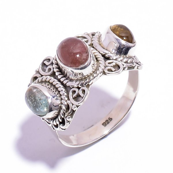 Tourmaline Gemstone 925 Sterling Silver Ring Size US 7.25