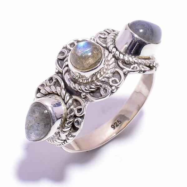 Labradorite Gemstone 925 Sterling Silver Ring Size US 9