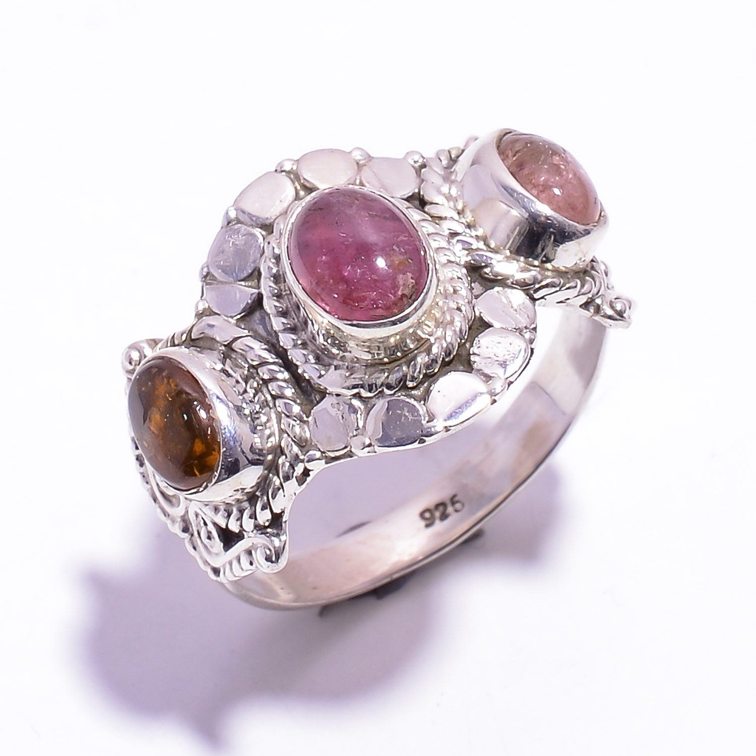 Tourmaline Gemstone 925 Sterling Silver Ring Size US 9