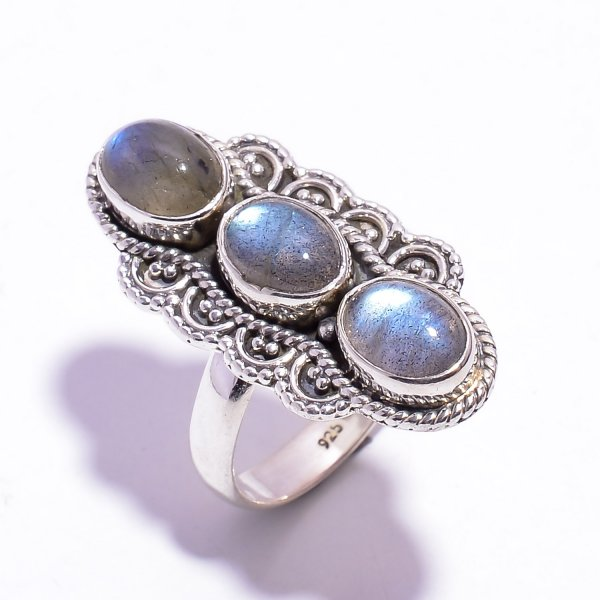 Labradorite Gemstone 925 Sterling Silver Ring Size US 6.75