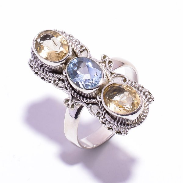 Citrine Blue Topaz Gemstone 925 Sterling Silver Ring Size US 8.75