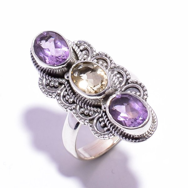 Citrine Amethyst Gemstone 925 Sterling Silver Ring Size US 7
