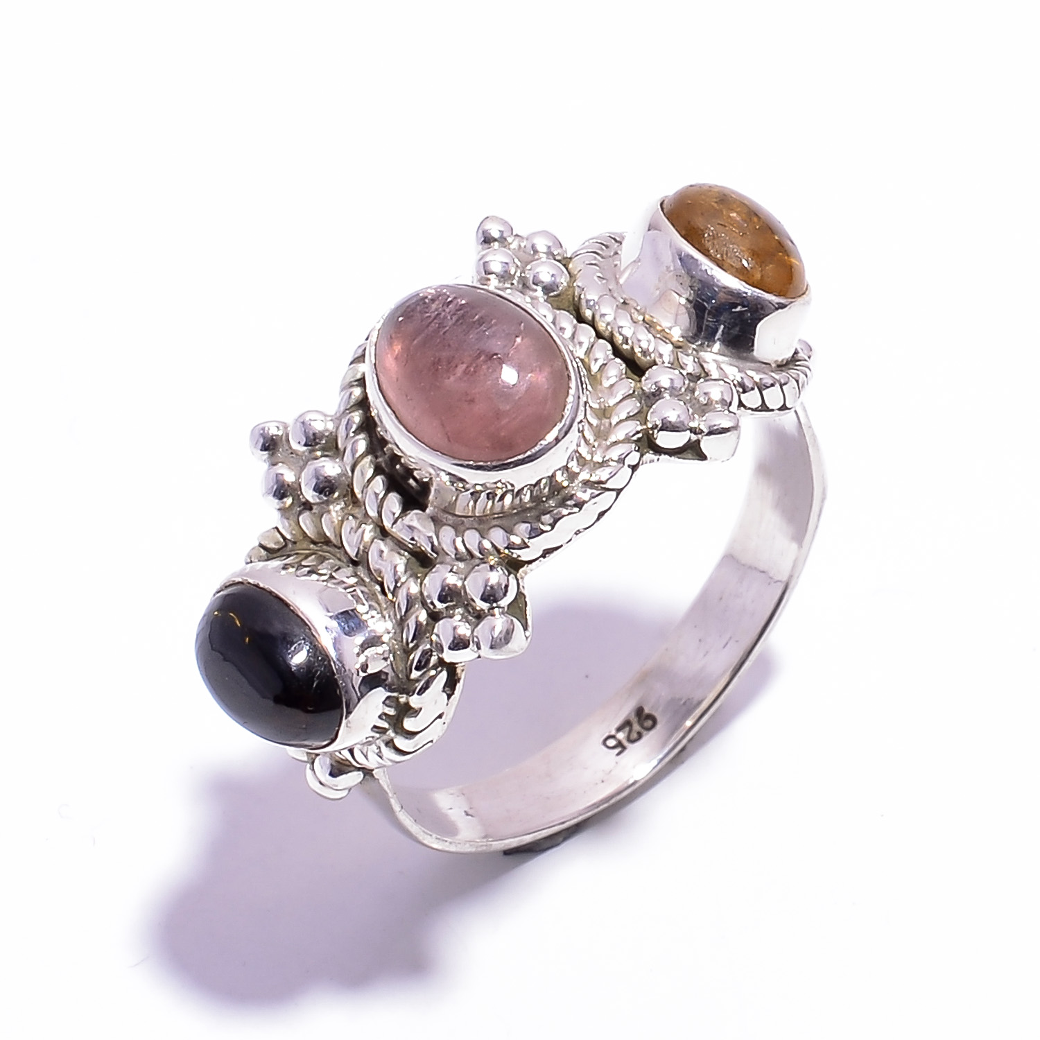 Tourmaline Gemstone 925 Sterling Silver Ring Size US 7.75