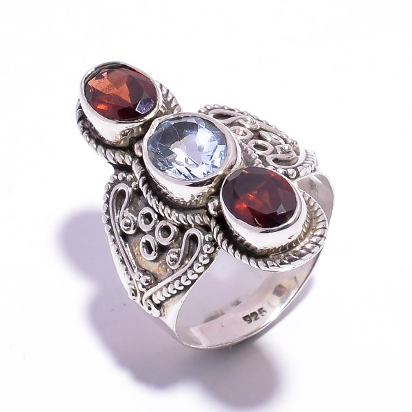 Garnet Blue Topaz Gemstone 925 Sterling Silver Ring Size US 6.5
