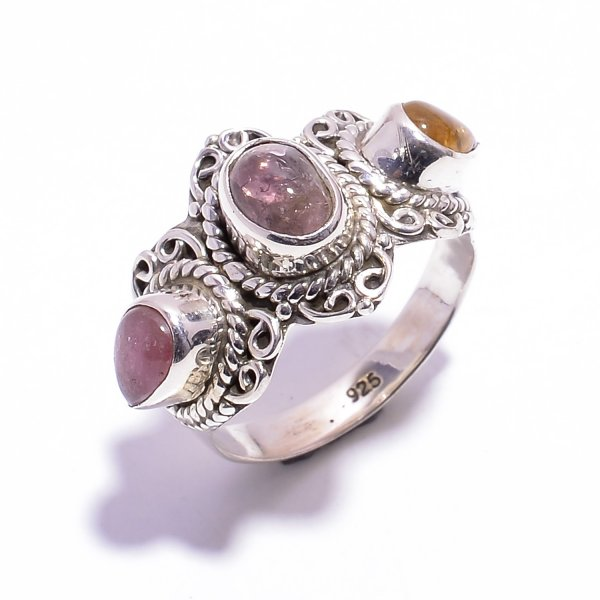 Tourmaline Gemstone 925 Sterling Silver Ring Size US 6.25