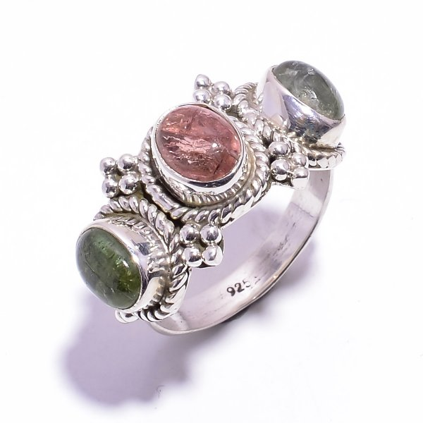 Tourmaline Gemstone 925 Sterling Silver Ring Size US 6.75