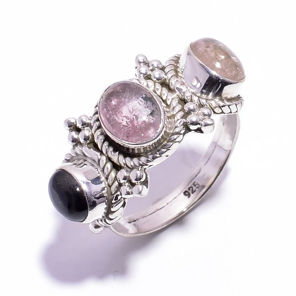 Tourmaline Gemstone 925 Sterling Silver Ring Size US 7